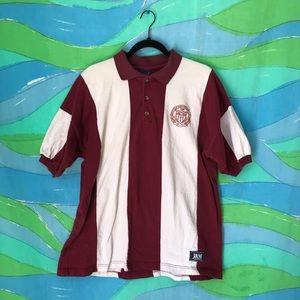 VINTAGE USC STRIPE POLO shirt embroidered logo